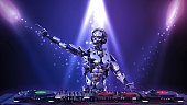 DJ Robot, disc jockey cyborg pointing and playing music on turntables, android on stage with deejay audio equipment, 3D rendering