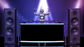 DJ Robot, disc jockey cyborg with hands up playing music on turntables, android on stage with deejay audio equipment, front view, 3D rendering