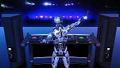 DJ Robot, disc jockey cyborg with microphone playing music on turntables, android on stage with deejay audio equipment, back view, 3D rendering