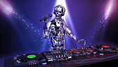 DJ Robot, disc jockey cyborg with microphone playing music on turntables, android on stage with deejay audio equipment, close up view, 3D rendering