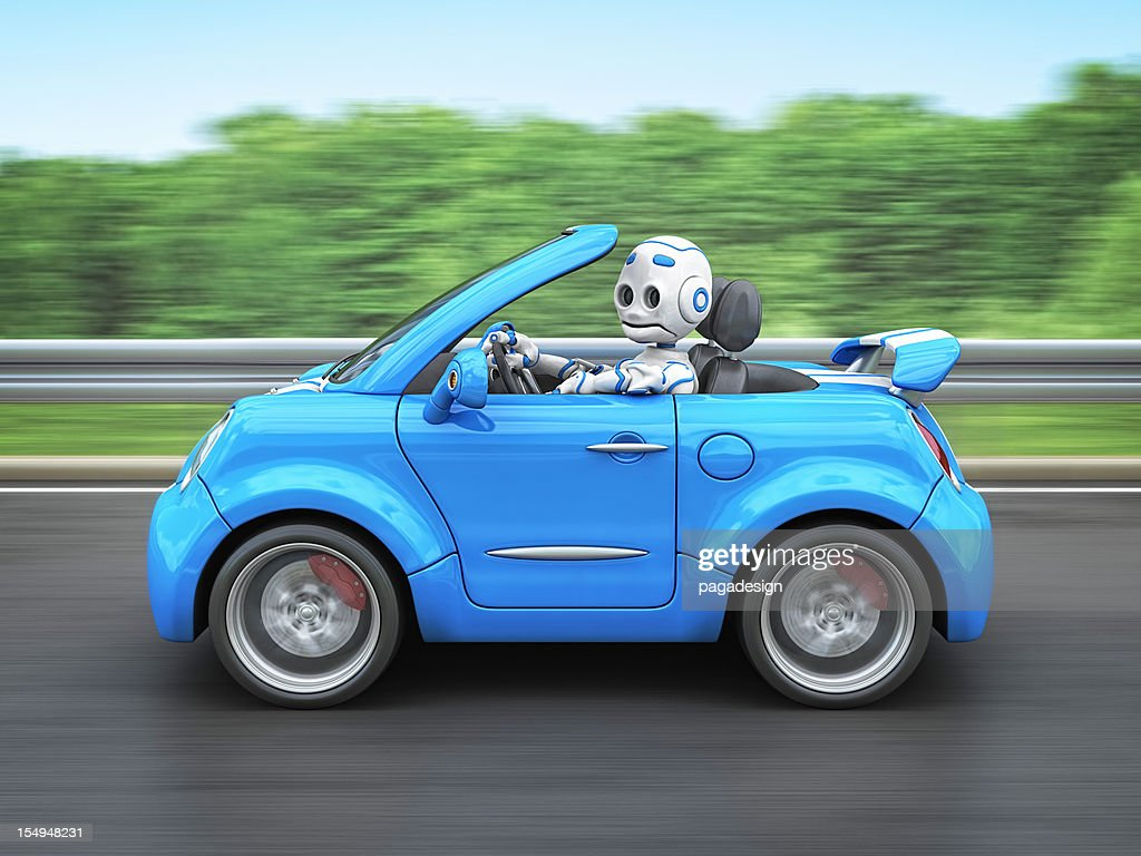Roboter mit dem Auto : Stock-Foto