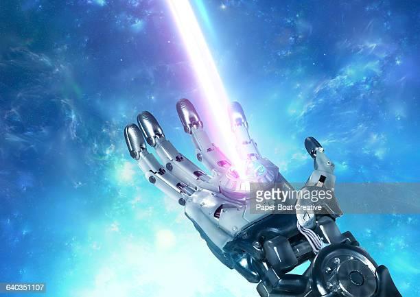 Robot hand projecting big laser beam rising up