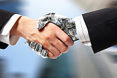 Robot and human handshake