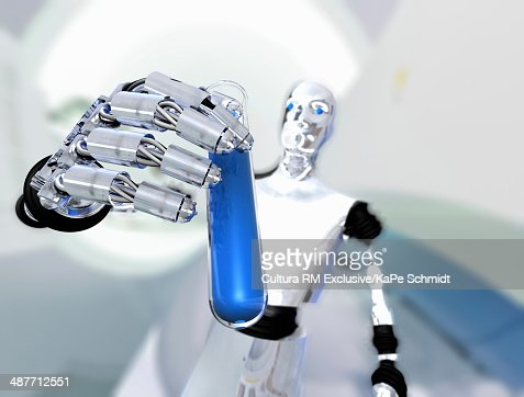 Robot holding up test tube with blue liquid : Stock Photo