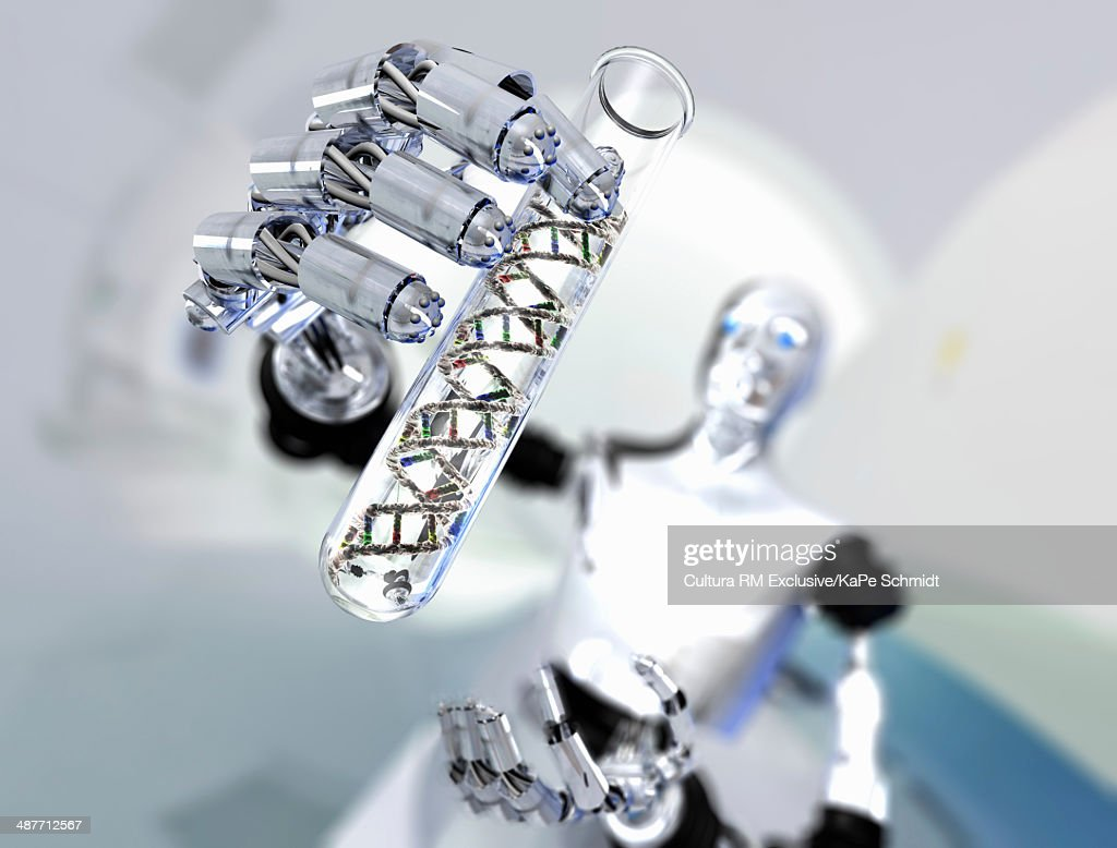 Robot holding up test tube with DNA molecules : Stock Photo
