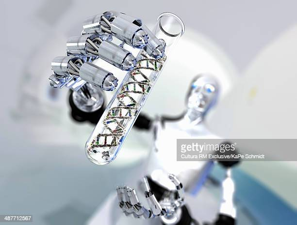 Robot holding up test tube with DNA molecules
