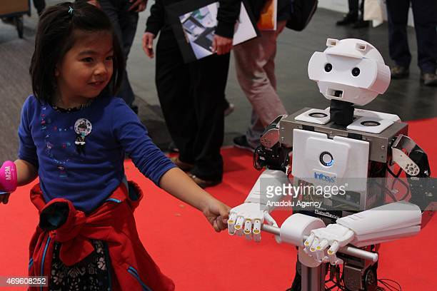 A robot is seen during Hannover Messe industrial fair 2015 on April 13 2015 in Hannover Germany Hannover Messe industrial fair 2015 where the India...