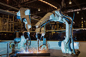Robot welding assembly automotive part in car factory