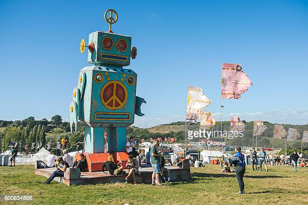 Robot of love on the Bestival Hill on Day 1 of Bestival at Robin Hill Country Park on September 8 2016 in Newport Isle of Wight
