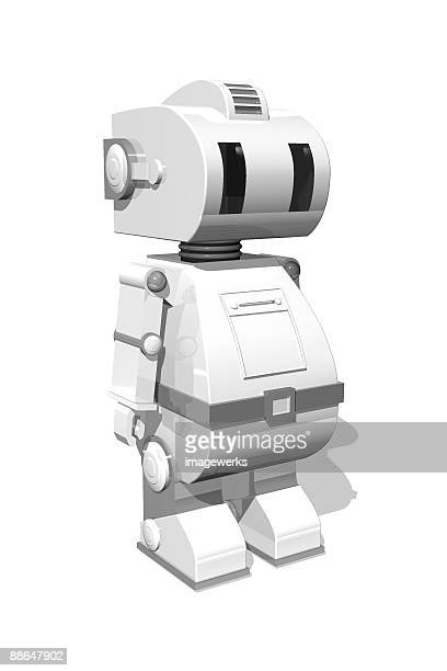 Robot on white background, close-up