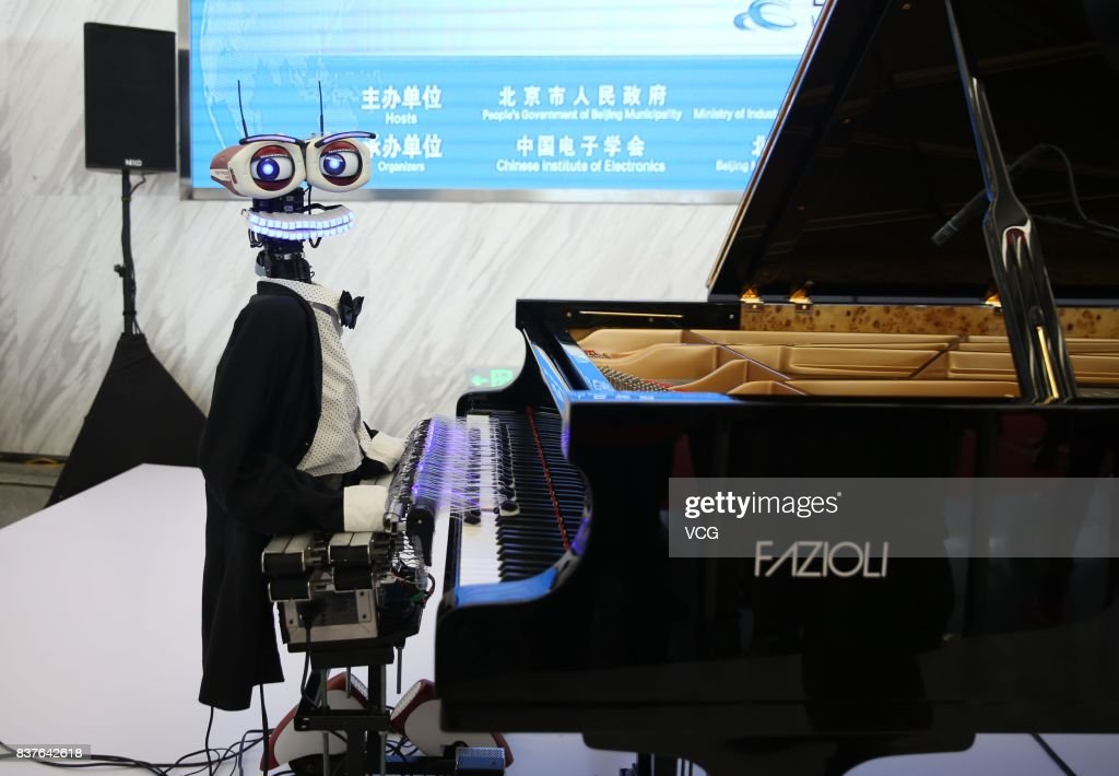Robot pianist Teo Tronico performs at the World Robot Conference (WRC) 2017 at Etrong International Exhibition & Convention Center on August 23, 2017 in Beijing, China. The World Robot Conference 2017 is held from August 23 to 27 in Beijing.