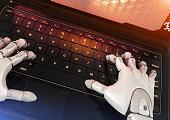 Robot typing on keyboard. 3D illustration