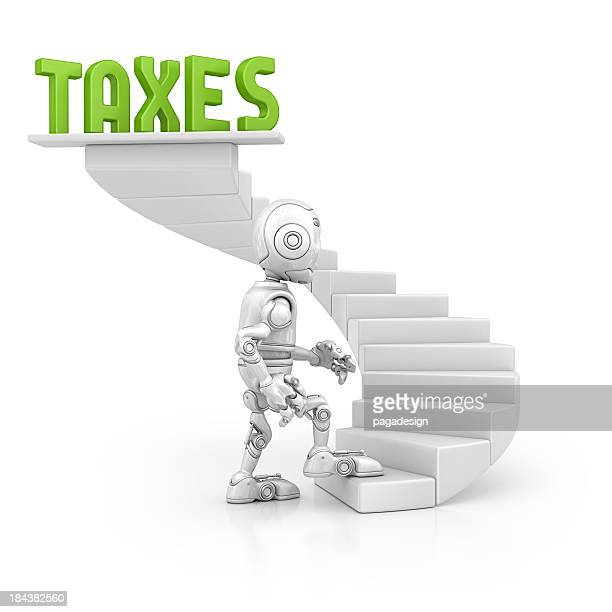 robot walking on the taxes