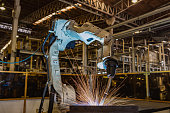 Robot welding in automotive industrial factory