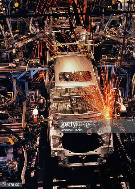 Robot welding of car bodies on production line