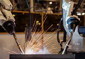 robot welding part in automotive industrial