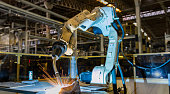 robot welding in car factory