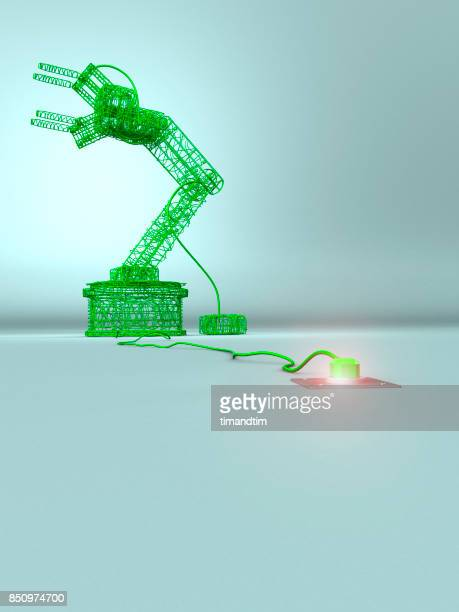 Robotic arm made of green wires in a green environment