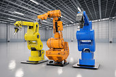 3d rendering three robotic arms in a row