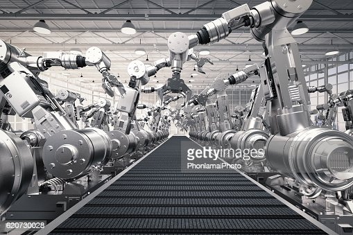 robotic arms with empty conveyor belt : Stock Photo