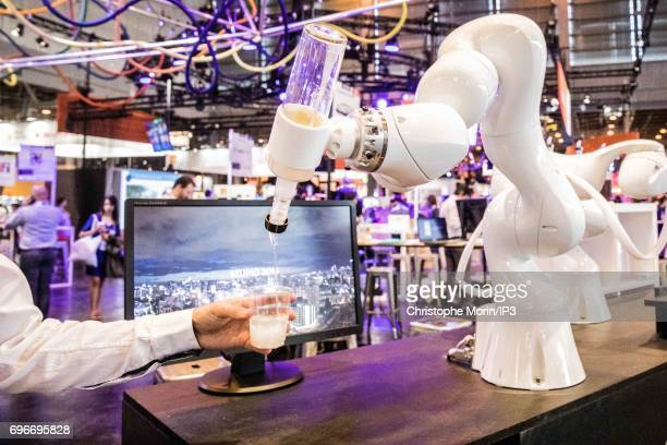 A robotic bar system is presented during Viva Technology at Parc des Expositions Porte de Versailles on June 16 2017 in Paris France Viva Technology...
