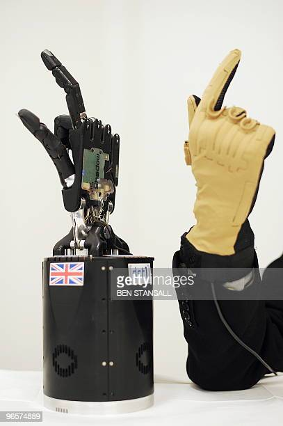 Robotic hands which have been designed to aid army bomb disposal personnel are pictured at the Centre for Defence Enterprise in Oxford in central...