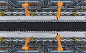 3d rendering robotic machines with conveyor line