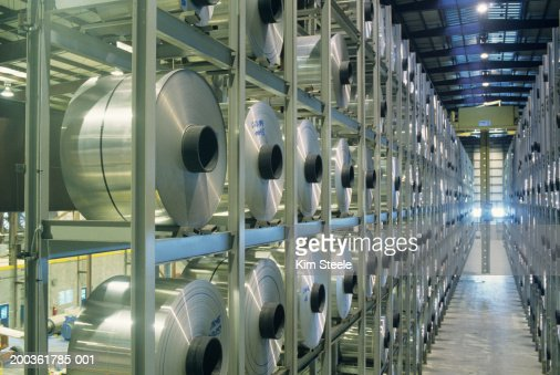 Robotic storage unit in Aluminium plant : Stock Photo