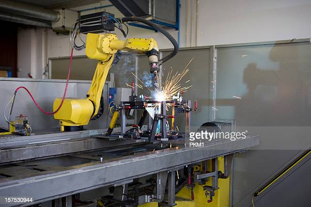 Robotic welding machine at work on a project