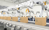 Robotic with arm conveyor line