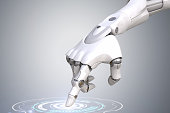 Robot's hand is pushing the button. Clipping path included