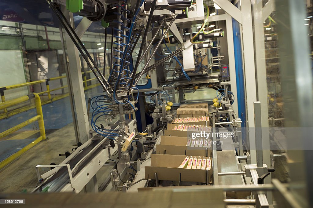 Robots pack sponge boxes at the factory of French sponge brand Spontex on December 19, 2012 in Beauvais.