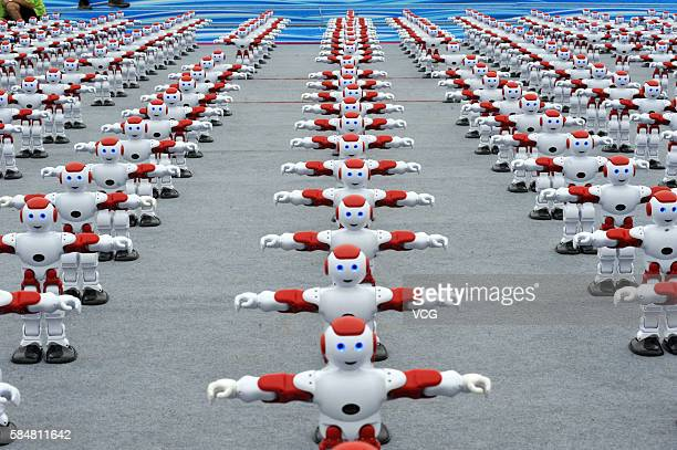 1050 robots perform dancing at the Qingdao International Beer Festival on July 30 2016 in Qingdao Shandong Province of China 1050 robots danced...