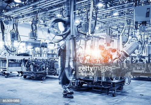 robots welding in a car factory : Foto stock