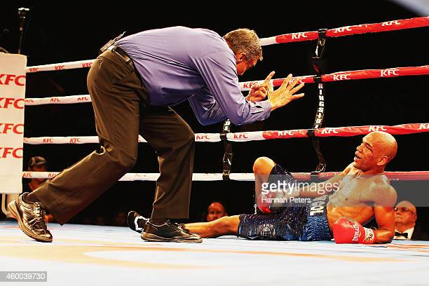 Robson Assis is knocked out by Jeff Horn during the Fight for Life at Claudelands Event Centre on December 6 2014 in Hamilton New Zealand