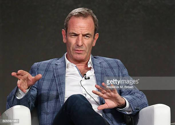 Robson Green speaks onstage during Masterpiece's 'Grantchester' panel as part of the PBS portion of the 2016 Television Critics Association Winter...