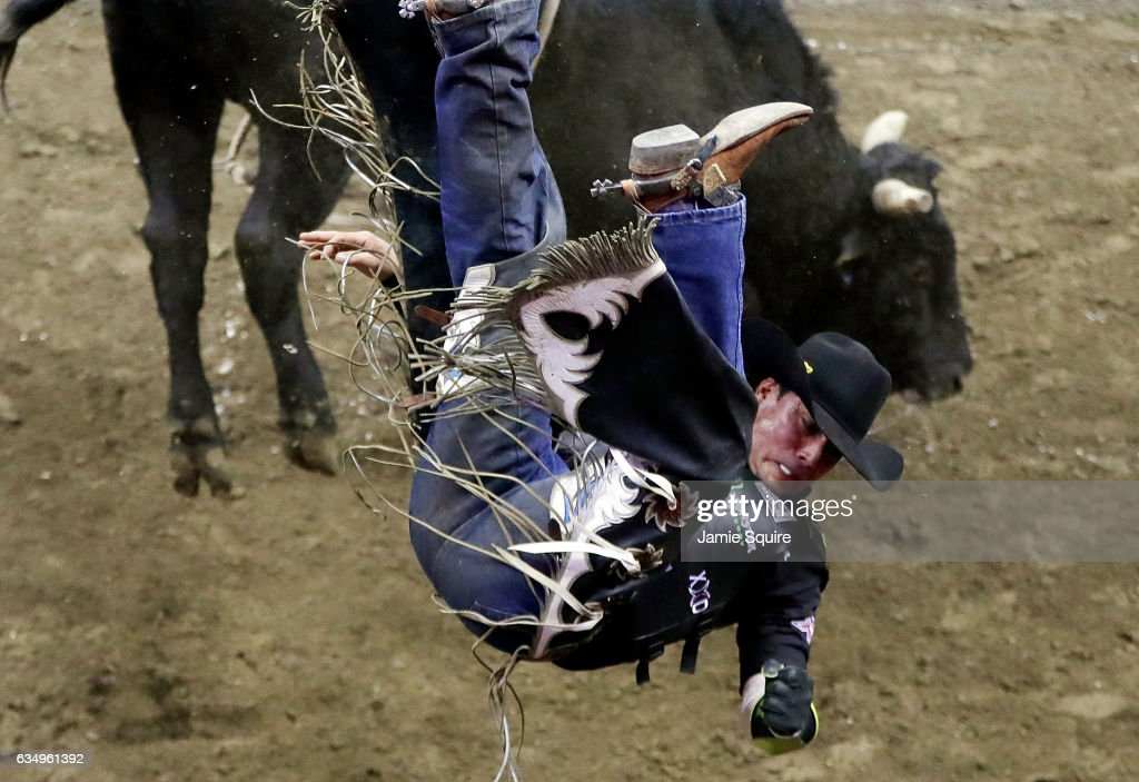 Robson Polermo is thrwon from Bar Down during the 2nd round of the PBR Kansas City Invitational at the Sprint Center on February 12, 2017 in Kansas City, Missouri.