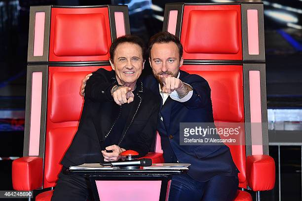 Roby Facchinetti and Francesco Facchinetti attend The Voice Of Italy Tv Show Photocall on February 23 2015 in Milan Italy