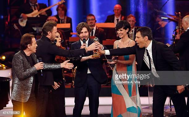 Roby Facchinetti Francesco Facchinetti Federico Russo and Valentina Correani receive the award for 'Sanremo' during the the PREMIO TV 2015 Awards at...