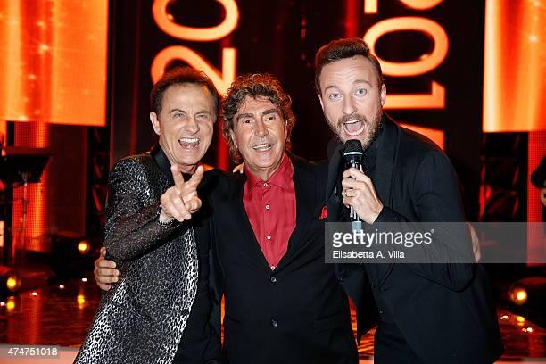 Roby Facchinetti Stefano D'Orazio and Francesco Facchinetti attend PREMIO TV 2015 Awards at RAI Dear Studios on May 25 2015 in Rome Italy