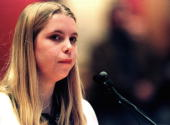 Robyn Anderson the woman who bought three guns for Eric Harris and Dylan Klebold speaks during a House Judiciary Committee meeting at the State...