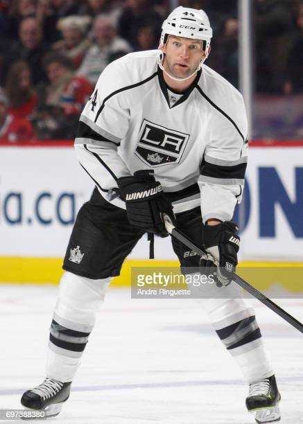 Robyn Regehr of the Los Angeles Kings plays in the game against the Montreal Canadiens at the Bell Centre on December 12 2014 in Montreal Quebec...