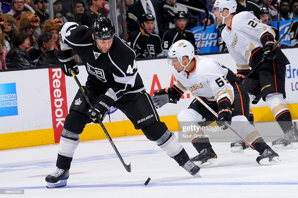 <a gi-track='captionPersonalityLinkClicked' href=/galleries/search?phrase=Robyn+Regehr&family=editorial&specificpeople=171828 ng-click='$event.stopPropagation()'>Robyn Regehr</a> #44 of the Los Angeles Kings skates with the puck against the Anaheim Ducks at Staples Center on April 13, 2013 in Los Angeles, California.