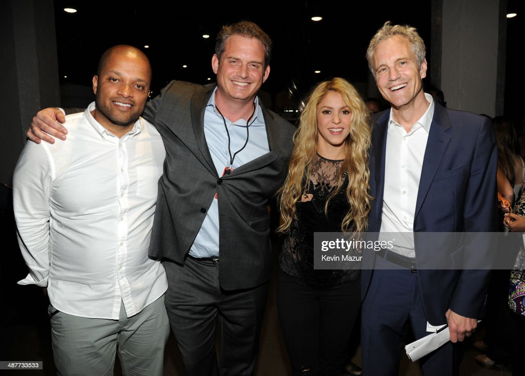 Roc Nation's Jay Brown, Clear Channel National Programming Platforms President Tom Poleman, recording artist Shakira and Clear Channel Media Holdings Entertainment Enterprises President John Sykes in the audience at the 2014 iHeartRadio Music Awards held at The Shrine Auditorium on May 1, 2014 in Los Angeles, California. iHeartRadio Music Awards are being broadcast live on NBC.