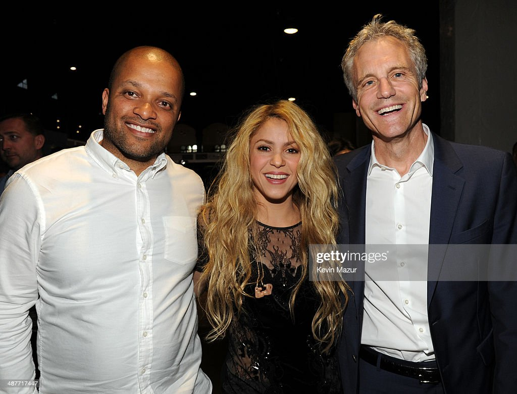 Roc Nation's Jay Brown, recording artist Shakira and Clear Channel Media Holdings Entertainment Enterprises President John Sykes in the audience at the 2014 iHeartRadio Music Awards held at The Shrine Auditorium on May 1, 2014 in Los Angeles, California. iHeartRadio Music Awards are being broadcast live on NBC.