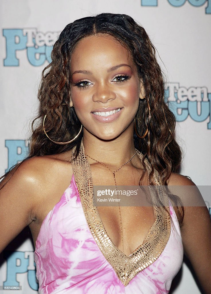 Roc-A-Fella recording artist <a gi-track='captionPersonalityLinkClicked' href=/galleries/search?phrase=Rihanna&family=editorial&specificpeople=453439 ng-click='$event.stopPropagation()'>Rihanna</a> is featured at the Teen People Listening Lounge hosted by Jay-Z at the Key Club on July 14, 2005 in West Hollywood, California.