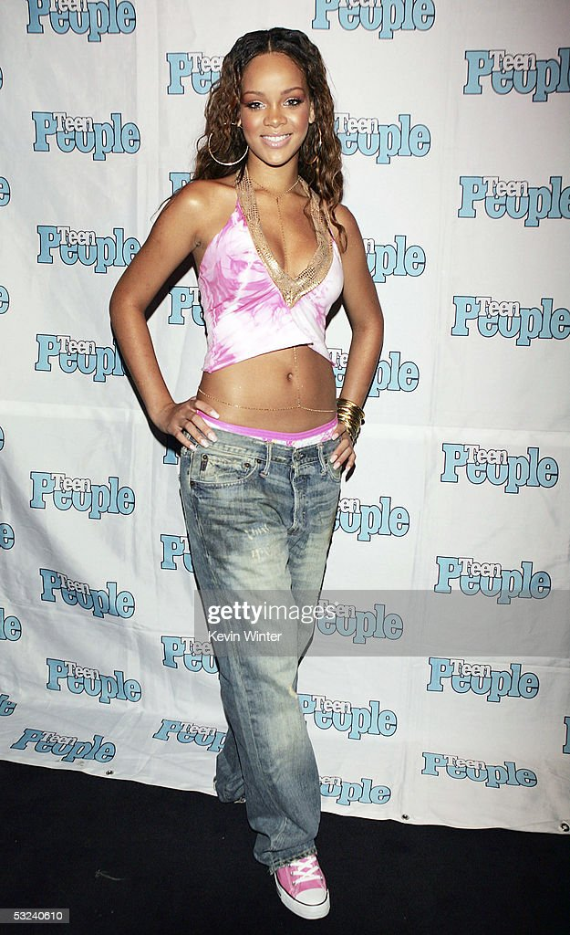 RocAFella recording artist Rihanna is featured at the Teen People Listening Lounge hosted by Jay Z at the Key Club on July 14 2005 in West Hollywood...