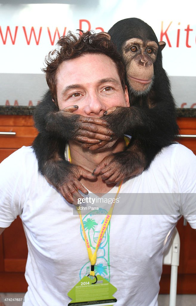 <a gi-track='captionPersonalityLinkClicked' href=/galleries/search?phrase=Rocco+DiSpirito&family=editorial&specificpeople=211557 ng-click='$event.stopPropagation()'>Rocco DiSpirito</a> poses with a monkey during the Fun And Fit As A Family Sponsored By Carnival Featuring Goya Kidz Kitchen Hosted By Robert Irvine during the Food Network South Beach Wine & Food Festival at Jungle Island on February 22, 2014 in Miami, Florida.