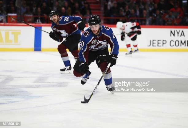 Rocco Grimaldi of Colorado Avalanche during the 2017 SAP NHL Global Series match between Ottawa Senators and Colorado Avalanche at Ericsson Globe on...