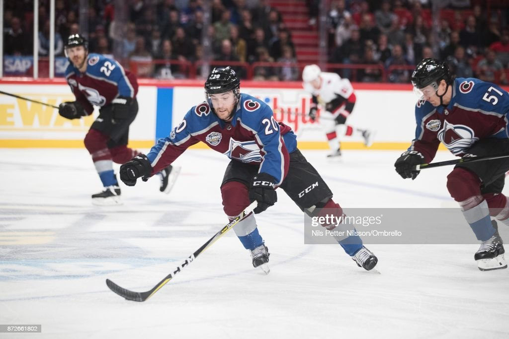 Rocco Grimaldi #20 of Colorado Avalanche during the 2017 SAP NHL Global Series match between Ottawa Senators and Colorado Avalanche at Ericsson Globe on November 10, 2017 in Stockholm, .
